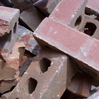 A close up image of a pile of bricks
